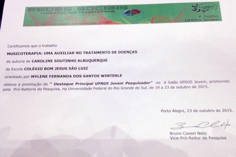 Certificado do X Salão UFRGS Jovem.