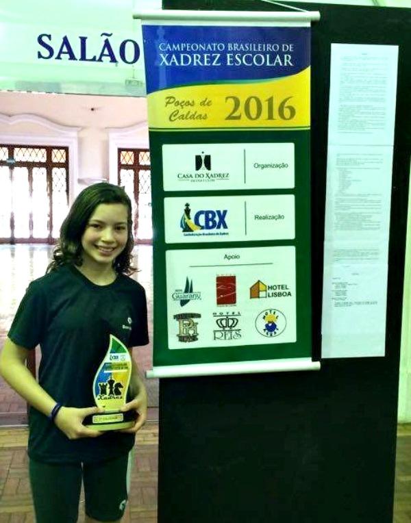 A aluna campeã do Campeonato Brasileiro de Xadrez, Gabriela Luisa Vicente Feller.