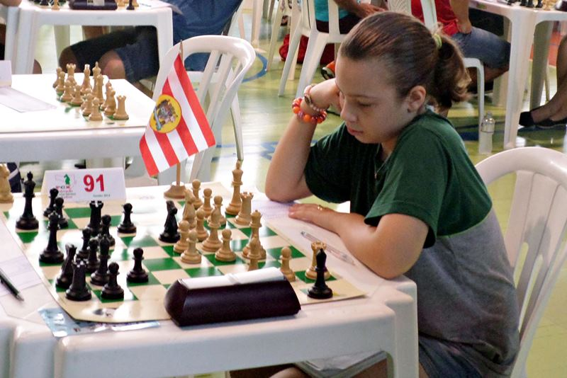 Gabriela L Vicente Feller, campeã Sub-12 do Floripa Chess Open 2015.